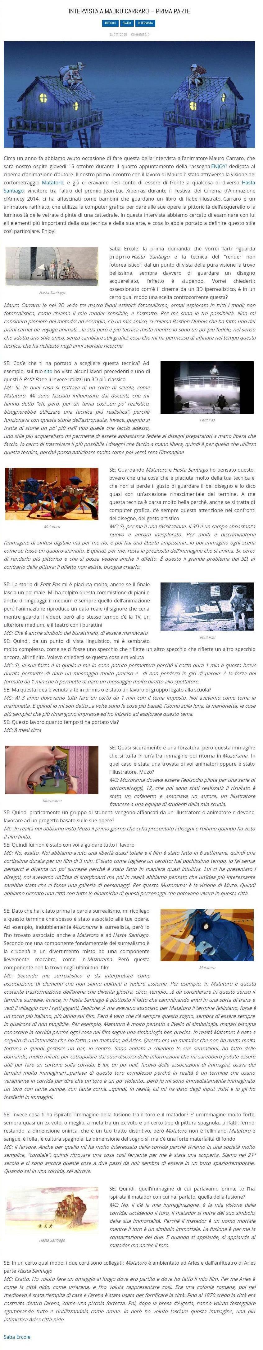 LA SCATOLA BLU_Intervista a Mauro Carraro – prima parte_Saba-Ercole_14-10-2015