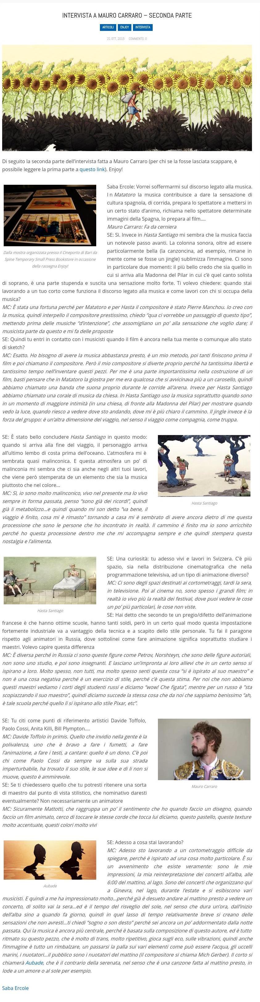LA SCATOLA BLU_Intervista a Mauro Carraro – seconda parte_Saba-Ercole_21-10-2015